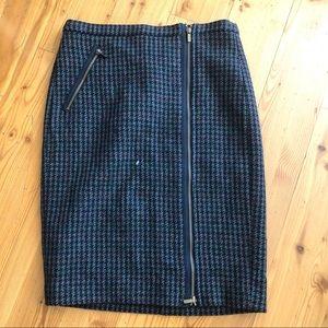 Jcrew zip front tweed pencil skirt Sz 6